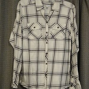 Black and cream plaid shirt